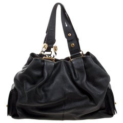 Bvlgari Black Leather Leoni Satchel