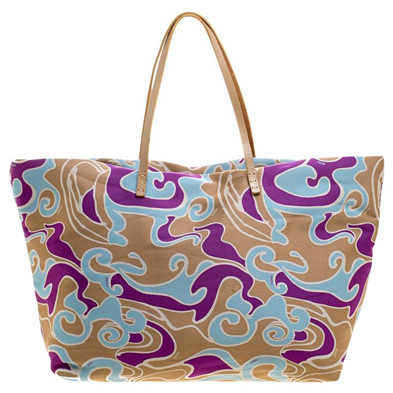 baa0209d1a6c Fendi Multicolor Printed Fabric Roll Tote For Sale at 1stdibs