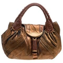 Fendi Bronze Holographic Fortuny Leather Spy Bag
