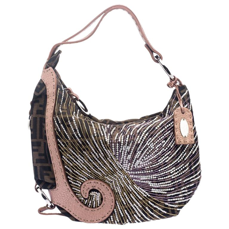 f67fd86cca27 Fendi Tobacco Beige Zucca Canvas and Leather Crystal Embellished Oyster Hobo  For Sale at 1stdibs