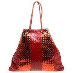 dea59570e031 Bottega Veneta Metallic Red Liquid Stripe Intrecciato Leather Oversized Tote