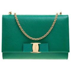 Salvatore Ferragamo Green Leather Ginny Shoulder Bag