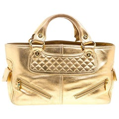 Celine Gold Leather Boogie Tote