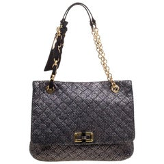 Lanvin Metallic Grey Quilted Ceramic Effect Leather Happy Shoulder Bag