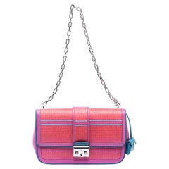 Dior Pink/Orange Raffia and Leather Miss Dior Medium Flap Bag