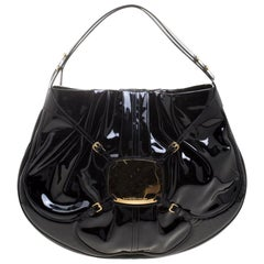 Alexander McQueen Black Patent Leather Clover Hobo