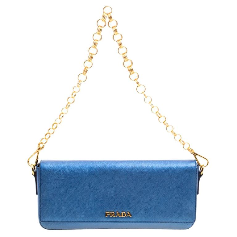 5fd2a039b6c4 Prada Metallic Blue Saffiano Lux Leather Chain Shoulder Bag For Sale at  1stdibs