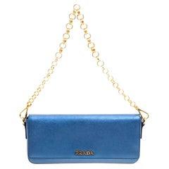 Prada Metallic Blue Saffiano Lux Leather Chain Shoulder Bag