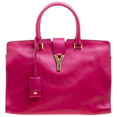 Saint Laurent Hot Pink Leather Medium Cabas Chyc Tote