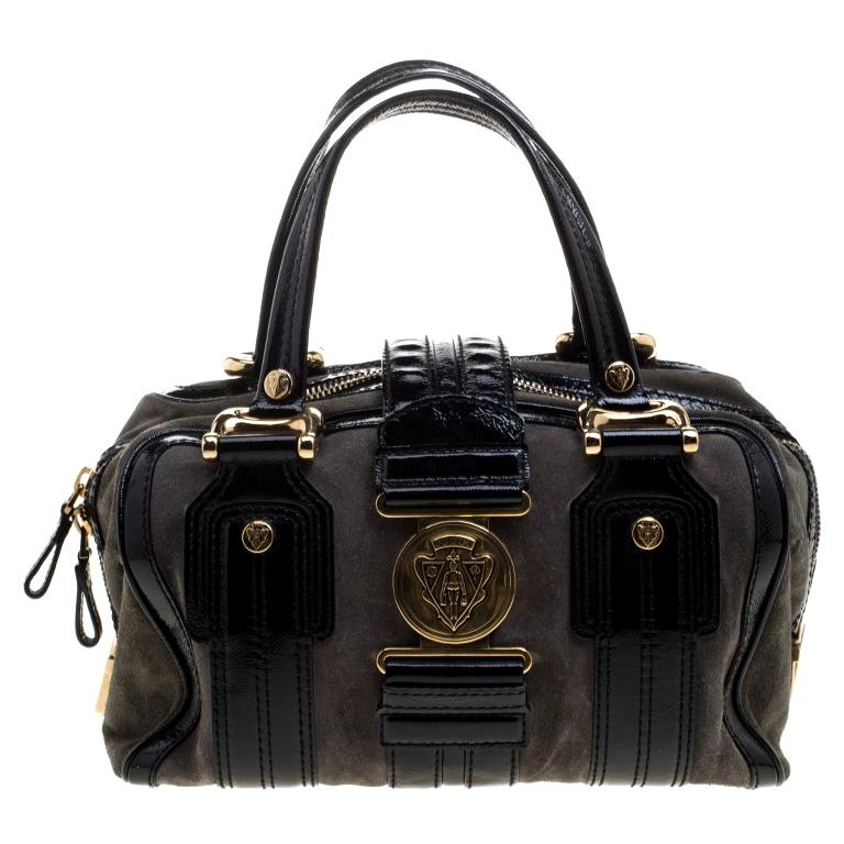 b46363fdc8dcd2 Gucci Black/Khaki Patent Leather and Suede Aviatrix Boston Bag For Sale