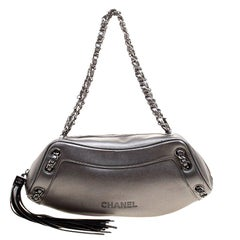 Chanel Metallic Grey Leather Tassel Evening Bag