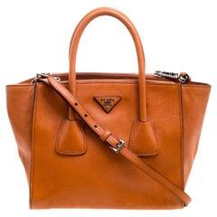 Prada Orange Leather Double Zip Tote