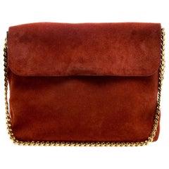 Celine Red Suede Gourmette Shoulder Bag