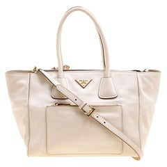 592dbdf2e6 Prada Off White Vitello Leather Phenix Front Pocket Tote