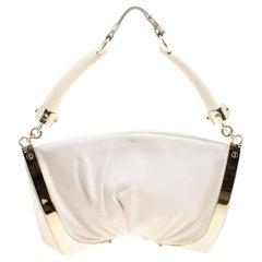Saint Laurent White Leather Double Horn Shoulder Bag