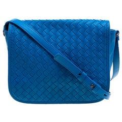 Bottega Veneta Blue Intrecciato Leather Full Flap Crossbody Bag