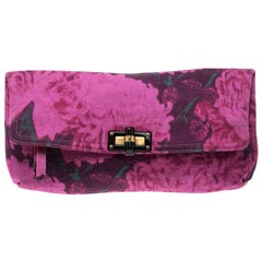 Lanvin Pink Printed Canvas Happy Clutch