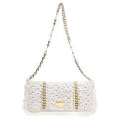 Dolce and Gabbana White Raffia Miss Charles Embellished Shoulder Bag