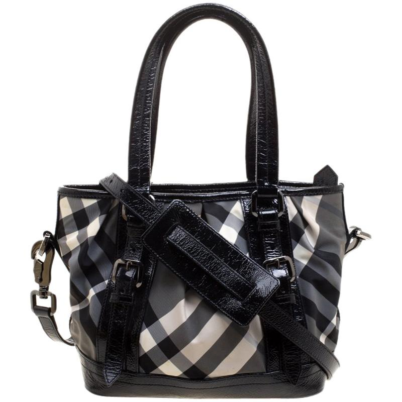 Burberry London Black Beat Check Nylon