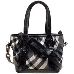 Burberry Black Beat Check Nylon and Patent Leather Small Lowry Tote