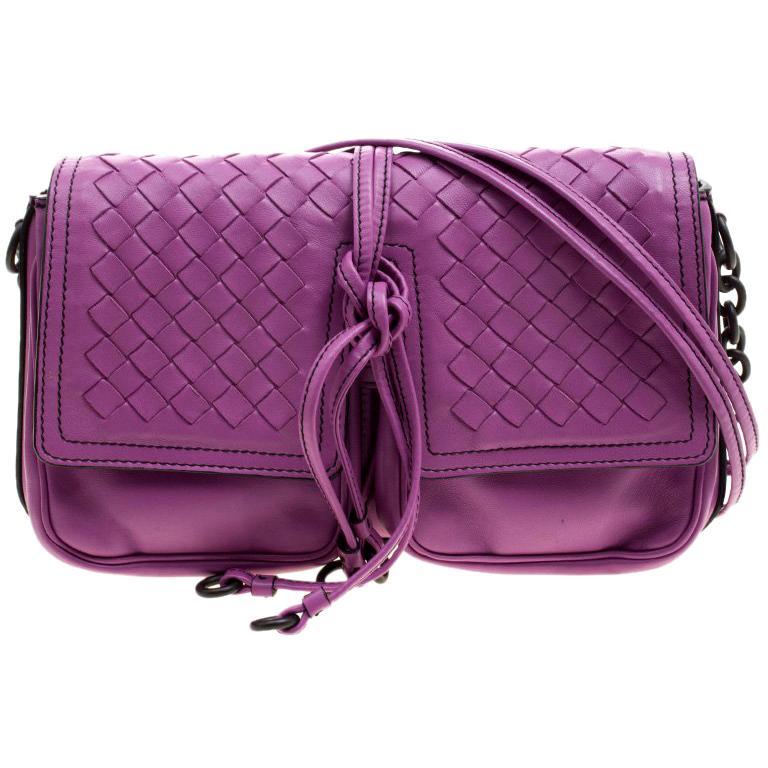 Bottega Veneta Purple Leather Front Pocket Crossbody Bag For Sale at ... fe909ec341708