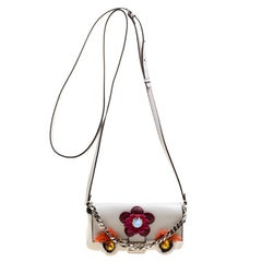 Fendi White Leather Micro Monster Baguette Bag