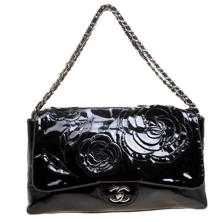 eb0363f5f68e5b Chanel Black Patent Leather Camellia Flap Shoulder Bag For Sale at ...