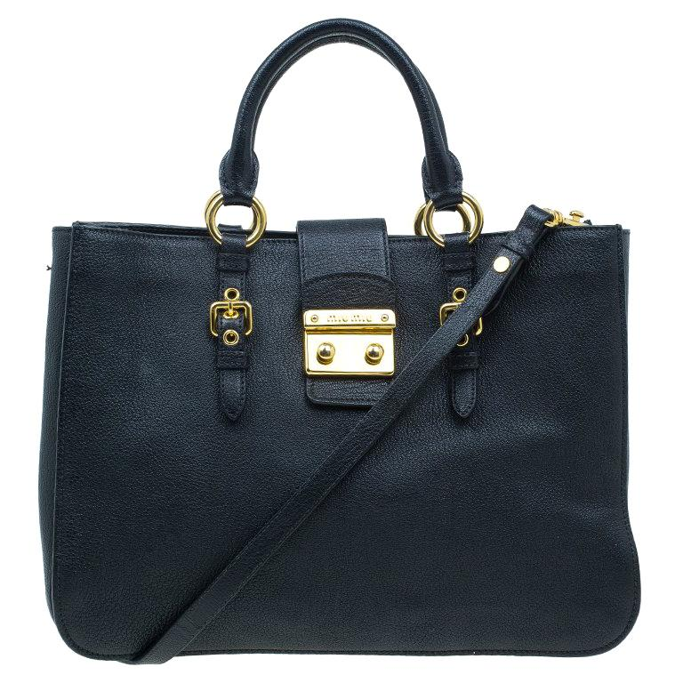f2a1217e068 Miu Miu Black Textured Leather Large Madras Tote Bag For Sale at 1stdibs