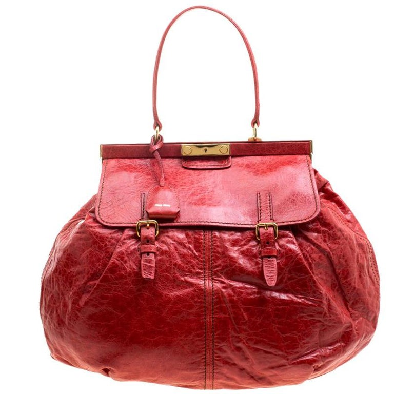 4c9d78999b2a0 Miu Miu Red Vitello Lux Leather Frame Top Handle Bag For Sale at 1stdibs