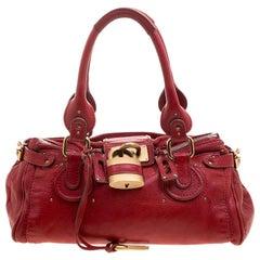 Chloe Red Leather Medium Paddington Satchel