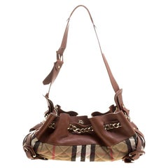 Burberry Brown/Beige Leather and Quilted House Check Margaret Shoulder Bag