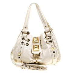 Mulberry for Giles White Leather Studded Drawstring Bag