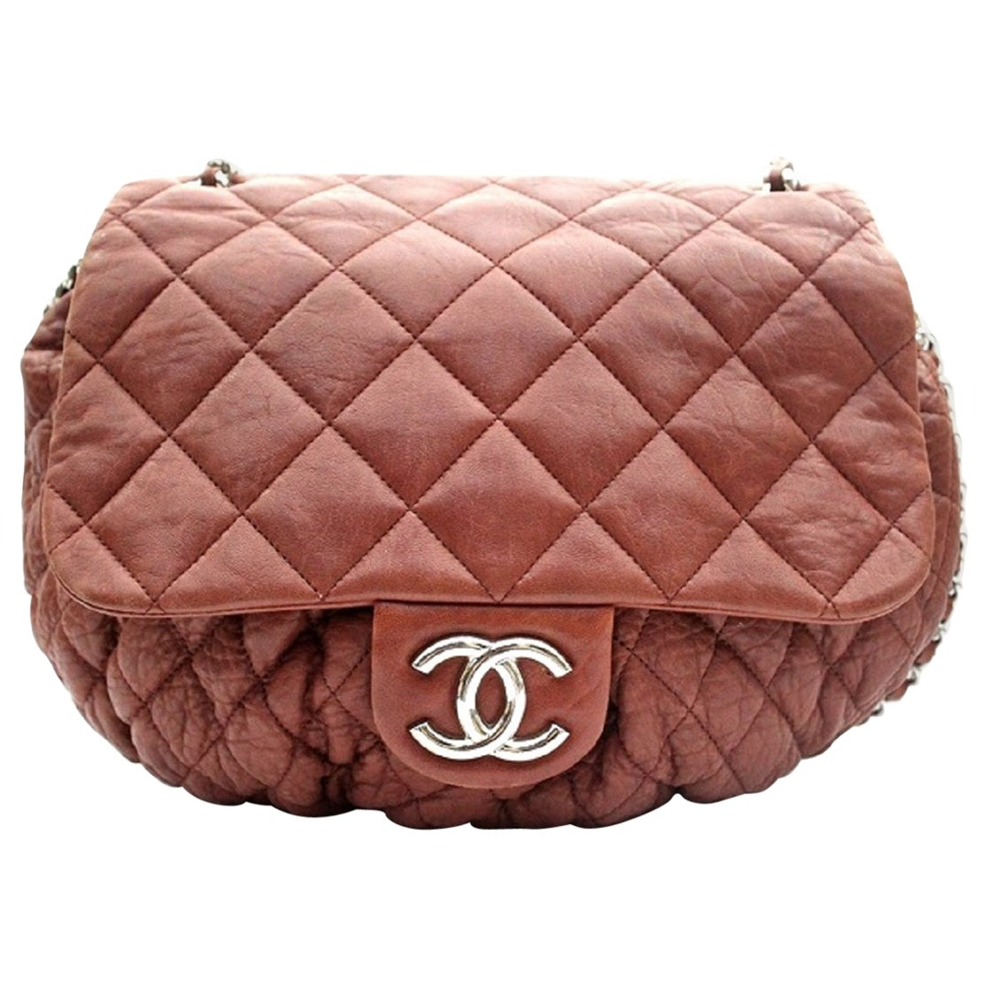 2011 Chanel Brown Brick Leather Chain Around Shoulder Bag