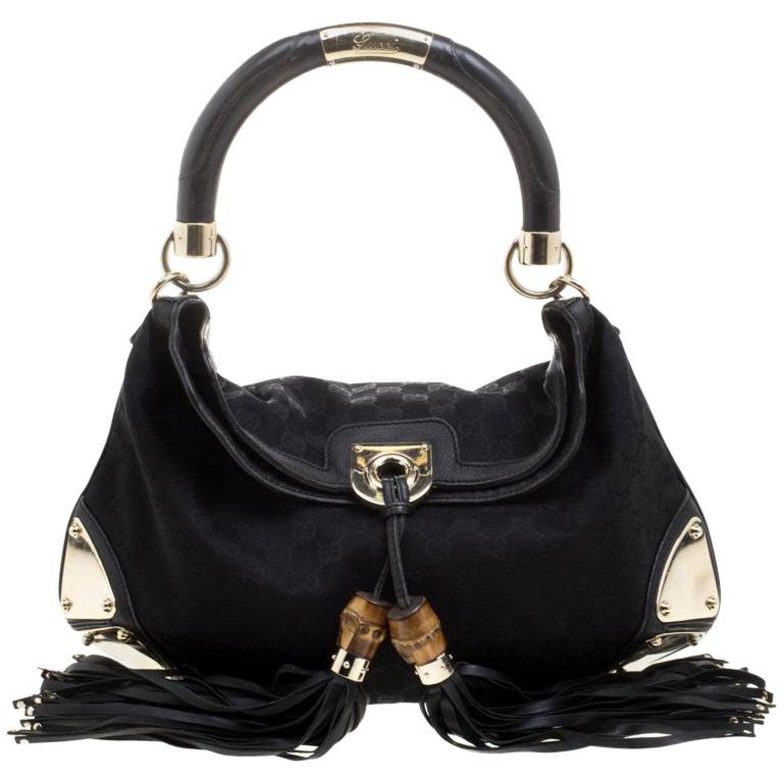 b38ac87fa3d9 Gucci Black GG Canvas Medium Babouska Indy Top Handle Bag For Sale at  1stdibs