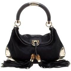 Gucci Black GG Canvas Medium Babouska Indy Top Handle Bag