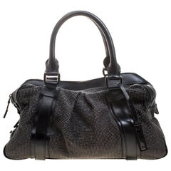 Burberry Black Leather Studded Ashbury Knight Satchel