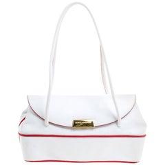 Dolce and Gabbana White Leather Vintage Shoulder Bag