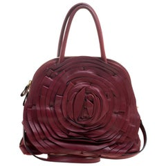Valentino Red Leather Petale Rose Dome Satchel
