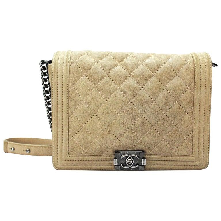 2013-2014 Chanel Beige Suede Large Boy Bag For Sale