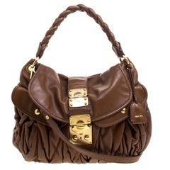 Miu Miu Brown Matelasse Lux Leather Coffer Hobo