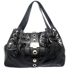 Jimmy Choo Black Glazed Leather Riki Tote