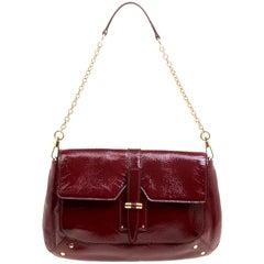 Saint Laurent Paris Red Patent Leather Emma Chain Shoulder Bag