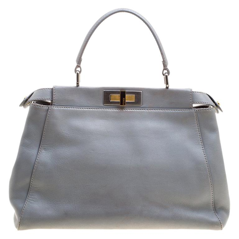 a6dfa97c03 Fendi Grey Leather Medium Peekaboo Top Handle Bag For Sale at 1stdibs