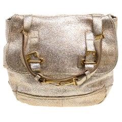 Saint Laurent Paris Metallic Gold Leather Besace Shoulder Bag