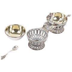 Sandri Vintage Sterling Silver 2 Open Salt Cellars and Spoons with Stand