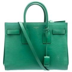Saint Laurent Paris Green Leather Small Classic Sac De Jour Tote