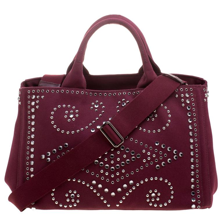 0271cd4ca238 Prada Burgundy Canvas Studded and Crystal Gardener's Tote For Sale at  1stdibs