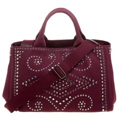 Prada Burgundy Canvas Studded and Crystal Gardener's Tote