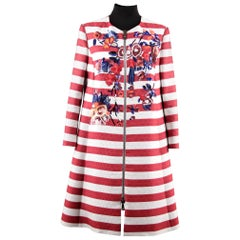 Antonio Marras Striped GrosGrain Embroidered Coat with Zip Front Size 38