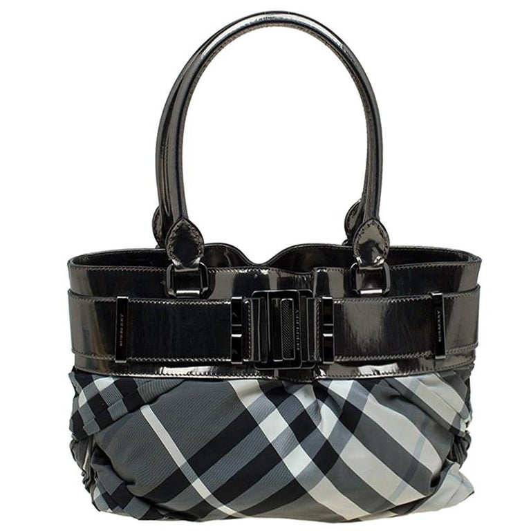 47d81244c7a0 Burberry Metallic Grey Beat Check Nylon and Leather Small Healy Tote For  Sale